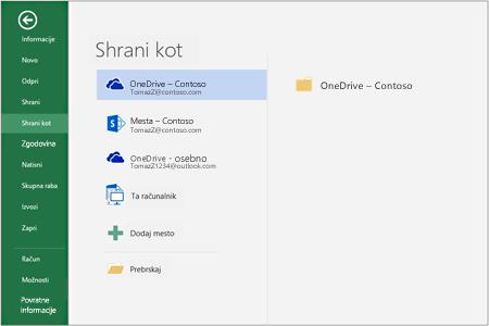 Možnosti shranjevanja v sistemu Office 2016