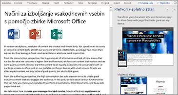 Dokument na levi strani in podokno »Preoblikovanje v spletno stran« na desni strani