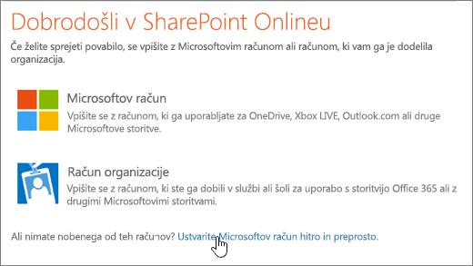 Posnetek zaslona, na katerem je prikazan zaslon za vpis v SharePoint Online z izbrano povezavo za ustvarjanje Microsoftovega računa.