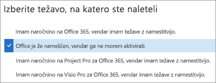 Prikaže možnost za aktiviranje Officea v pomočniku za podporo in obnovitev
