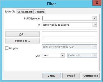 Izberite »Filter«, če želite uvoziti le določena e-poštna sporočila.