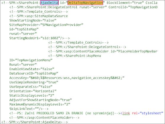 Posnetek zaslona kode »DeltaTopNavigation« za brisanje