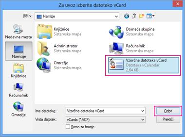 Izberite datoteko »vCard«, ki jo želite uvoziti v .csv.