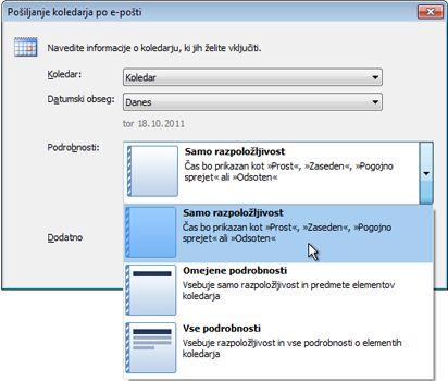 Seznam podrobnosti v pogovornem oknu »Pošiljanje koledarja po e-pošti«