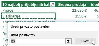 Uvozite obstoječe nastavitve vrtilnih tabel tako, da izberete vrtilno tabelo in kliknite »Uvoz«