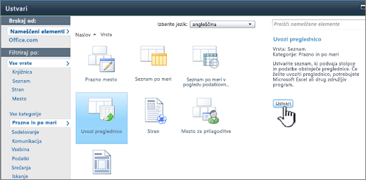Pogovorno okno za ustvarjanje z označeno možnostjo za uvoz preglednice in ustvarjanje