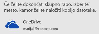 Če svoje predstavitve niste shranili v storitvi OneDrive ali SharePoint, vas PowerPoint pozove, da to naredite.