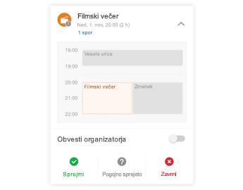 Povabilo na srečanje z mini koledarjem na vrhu, razdelkom za pripombe na sredini in gumbi za odgovore na dnu