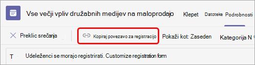 Pod naslovom srečanja izberite »Kopiraj povezavo za registracijo«