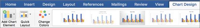 Kliknite zavihek »Načrt grafikona«, nato pa kliknite »Dodaj element grafikona«