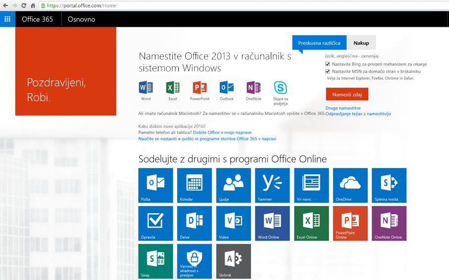 Posnetek zaslona postopka namestitve storitve Office 365 v PC.