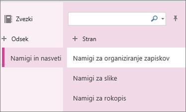 Odseki in strani v storitvi OneNote Online