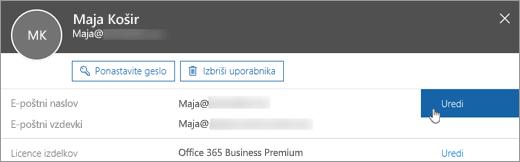 Ob primarnem e-poštnem naslovu izberite »Uredi«.
