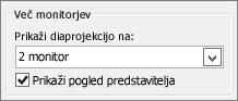 Možnosti monitorja z aplikacijo PowerPoint 2010