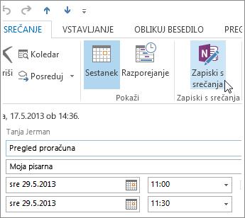 Ustvarjanje zapiskov v načrtovanem Outlookovem srečanju