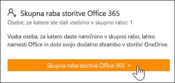 Razdelek »Skupna raba storitve Office 365« na strani »Moj račun«, preden je bila naročnina dana v skupno rabo za druge osebe.