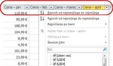 Samodejni filtri, ki se prikažejo v naslovih stolpcev v Excelovi tabeli