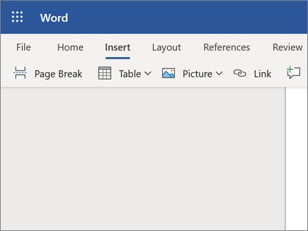 Vstavljanje slike v programu Word Online
