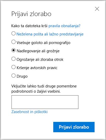 Posnetek zaslona pogovornega okna Zloraba poročilo polja v storitvi OneDrive