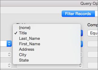 Kliknite polje, po katerem želite filtrirati.