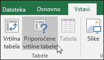 Pojdite v razdelek »Vstavi« > »Priporočene vrtilne tabele«, da Excel ustvari vrtilno tabelo namesto vas