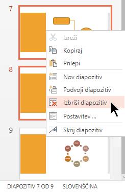 Z desno tipko miške kliknite diapozitiv in nato izberite »Izbriši diapozitiv«