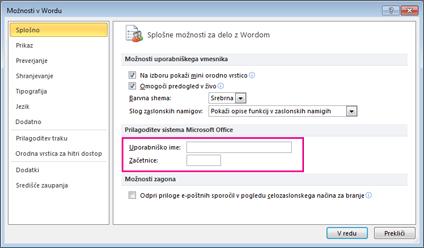 Možnosti »Prilagajanje« v aplikaciji Word 2010
