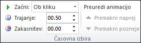 Možnosti časovne uskladitve za animacije v PowerPointu
