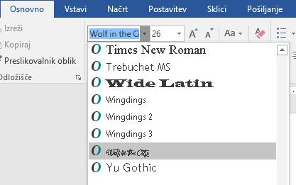 Nova pisava je prikazana na seznamu pisav v Wordu.