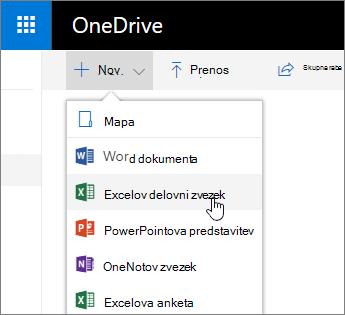 Nov meni» OneDrive «, ukaz» Excelov delovni zvezek «