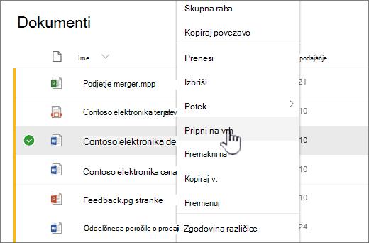 Kliknite Pripni na vrh, da označite dokument