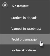 V skrbniškem središču se pomaknite do možnosti »Nastavitve« in nato »Profil organizacije«.