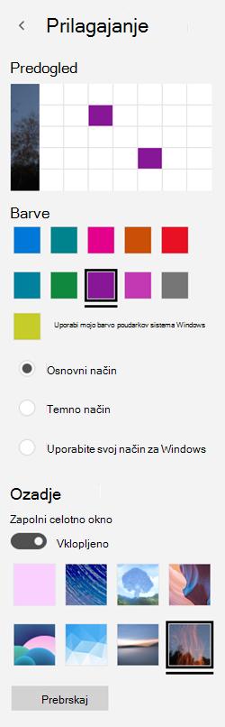 Izberite sliko za ozadje in barve po meri za programe
