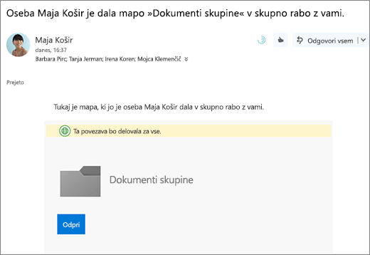 E-pošto s povezavo za skupno rabo mapo OneDrive