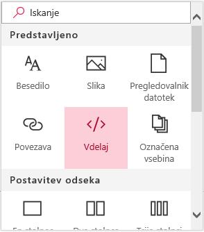 Posnetek zaslona z menijem »Vdelava vsebine« v SharePointu.