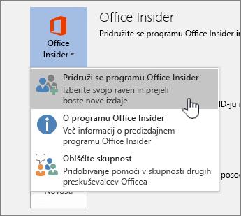 Pridruževanje gumbu programa Office Insider