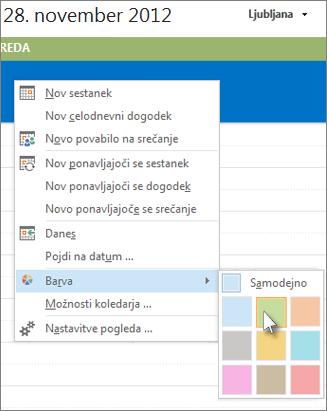 Z desno tipko miške kliknite koledar, nato pa »Barva«