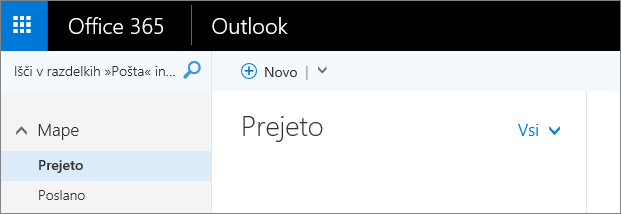 Slika traku v aplikaciji Outlook v spletu.