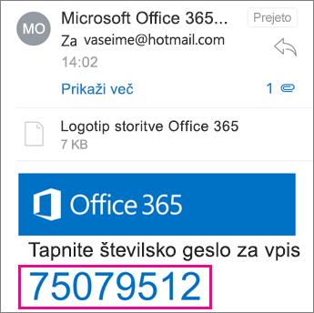Pregledovalnik za šifrirana sporočila v storitvi Office 365 – prejeto geslo