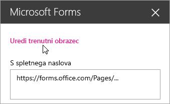 Urejanje trenutnega obrazca na plošči spletnega gradnika Microsoft Forms za obstoječi obrazec.