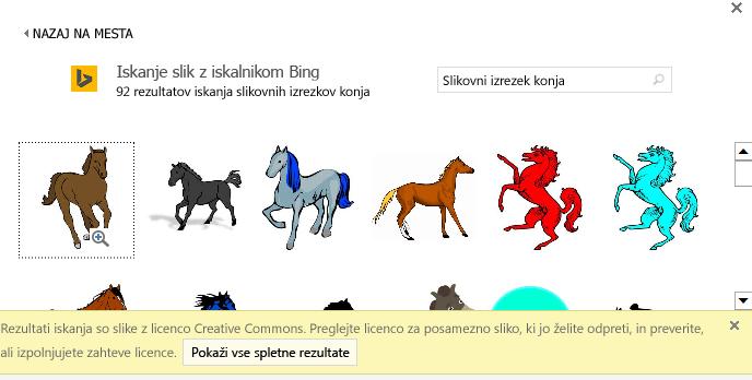 Če v iskanje vnesete »slika konja«, dobite različne slike, za katere velja licenca Creative Commons.