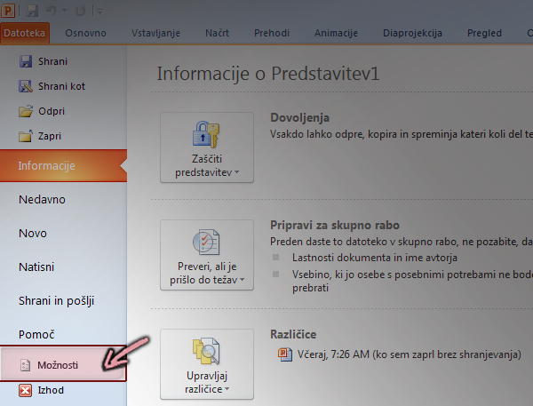 Na zavihku Datoteka na traku v programu PowerPoint 2010 kliknite možnosti
