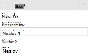 Meni» slogi naslovov v programu Word za Android «