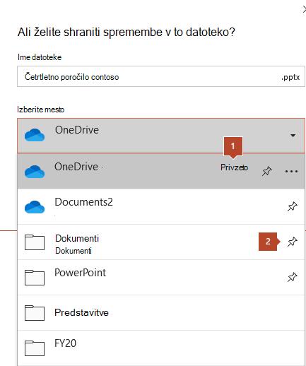 Pogovorno okno» Shrani «v sistemu Microsoft Office 365, ki prikazuje seznam map.