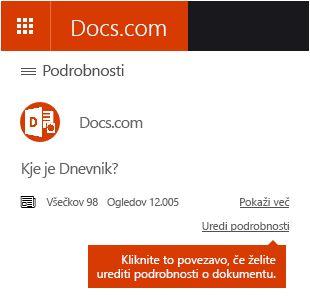 Možnost urejanja podrobnosti na spletnem mestu Docs.com