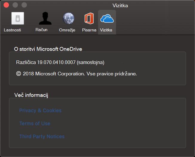 OneDrive za Mac – o uporabniškem vmesniku