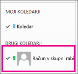 Outlook Web App z izbranim koledarjem nabiralnika v skupni rabi