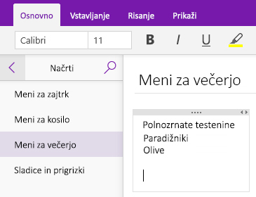 Posnetek zaslona vsebnika zapiskov na strani v OneNotu
