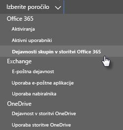 Izberite poročilo – skupine v storitvi Office 365