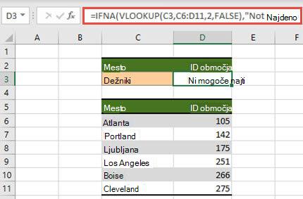 Slika funkcije IFNA s funkcijo VLOOKUP, da preprečite prikaz napak v storitvi #N.